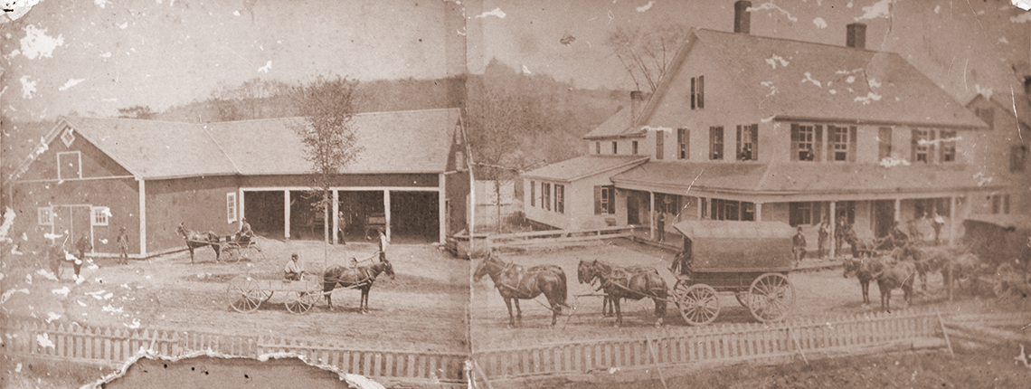 Old folded photo w/ horses